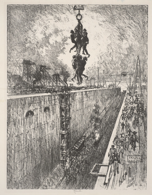Joseph Pennell, 'The End of the Day, Gatun Lock', 1912, de Young Museum