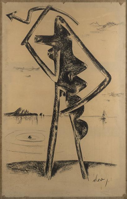 Gianni Dova, 'Senza titolo (figura)', fine anni '50 -inizio anni '60, Mixed Media, Cardboard on paper laid on canvas, Finarte