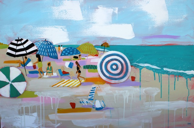 """Debbie Miller, '""""Beach Love"""" oil painting of colorful umbrellas on the beach', 2019, Eisenhauer Gallery"""