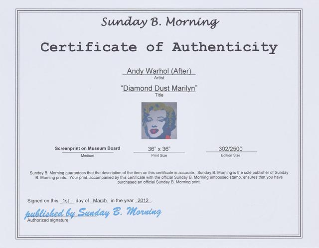 Andy Warhol, 'Diamond Dust Marilyn', Print, Colour silkscreen on museum board, Waddington's