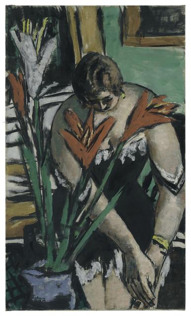 Max Beckmann, 'Frau bei der Toilette mit roten und weissen Lilien (Woman at Her Toilette with Red and White Lilies)', 1938, San Francisco Museum of Modern Art (SFMOMA)