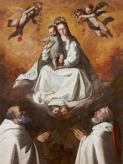 , 'Virgen de la Merced con dos mercedarios (The Virgin of Mercy with Two Mercedarian Monks),' ca. 1635-1640, Museo Thyssen-Bornemisza