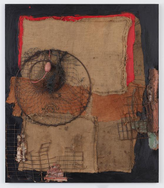 Herbie Fletcher, 'Burlap Taro Art 5 (Connecting to the Earth)', 2018, Painting, Metal, nylon netting, burlap, oil on canvas, Gagosian