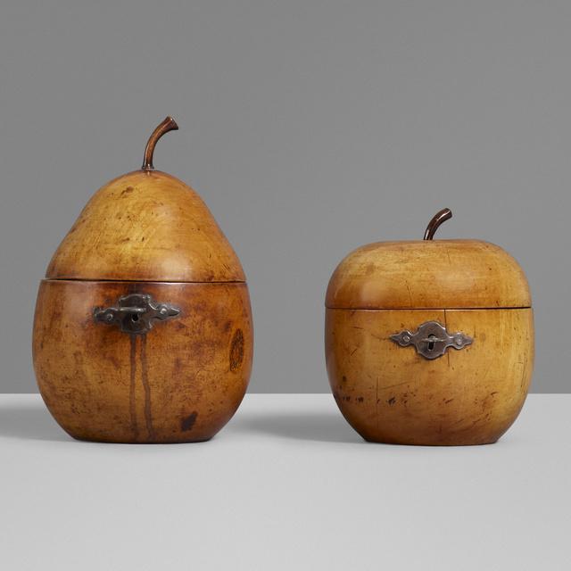 'Tea caddies, set of two', c. 1790, Design/Decorative Art, Carved fruitwood, steel, Rago/Wright
