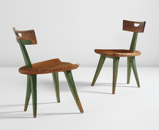 attributed to Giovanni Michelucci, 'Pair of side chairs,' 1940s, Phillips: Design
