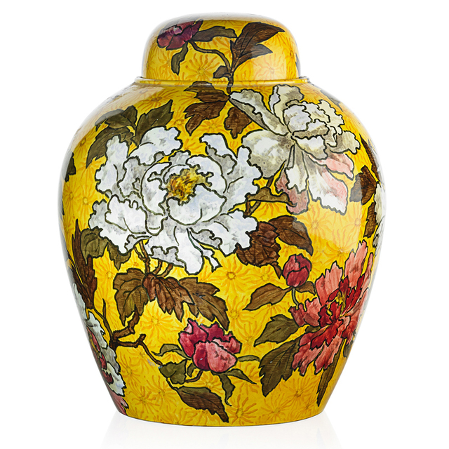 John Bennett, 'Large Covered Jar, New York', 1882, Design/Decorative Art, Large Covered Jar With Tree Peonies On A Yellow Ground, Rago/Wright