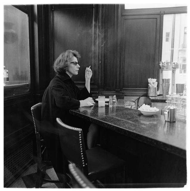, 'Woman at a counter smoking, N.Y.C.,' 1962 / printed by Neil Selkirk, Fraenkel Gallery