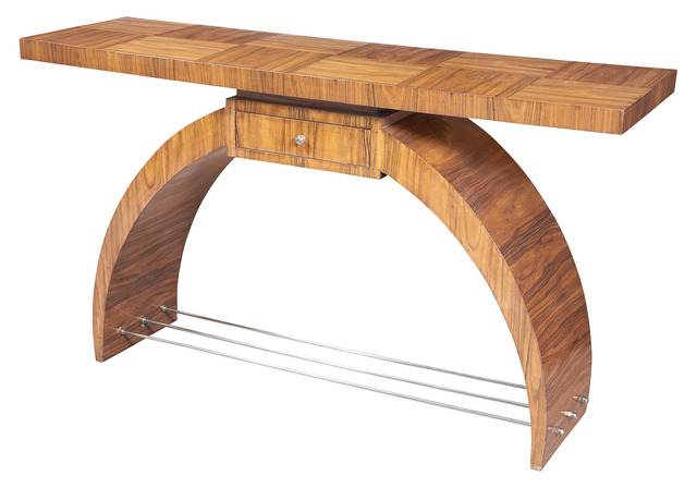'Art Deco Walnut Console', Design/Decorative Art, Rectangular top with frieze drawer and arched supports joined by metal stretchers., Doyle