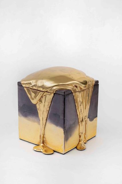 Nancy Lorenz, 'Red Gold Pour Box', 2019, Sculpture, Gold leaf, gesso, and pigment on paulownia box, Gavlak