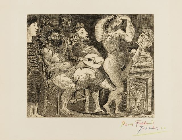 Pablo Picasso, 'En la Taberna Pêcheurs Catalans en Bordée (Au Cabaret) (Bloch 286, Baer 439 Bd 1)', 1934, Print, The very rare etching, Forum Auctions