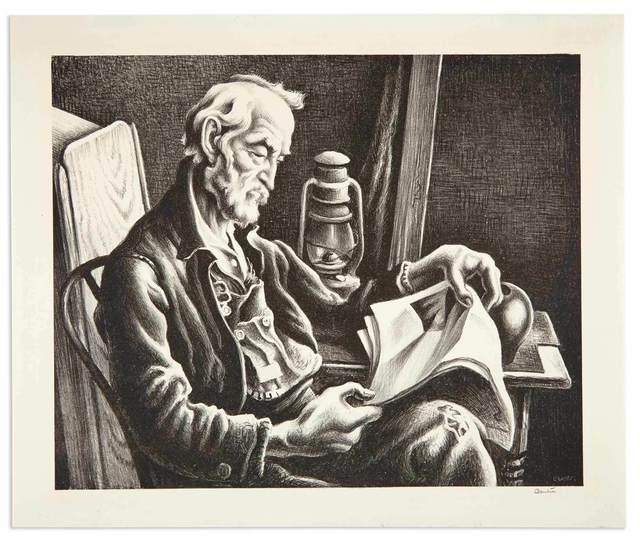 Thomas Hart Benton, 'OLD MAN READING (FATH 44)', 1941, Print, Lithograph, Doyle