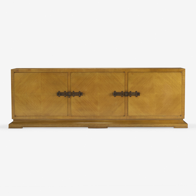 Tommi Parzinger, 'cabinet', c. 1965, Design/Decorative Art, Bleached mahogany, patinated brass, Rago/Wright