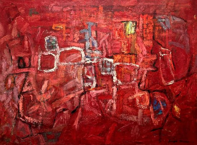 Joseph J. Meert, 'Figuration in Reds', c. 1955, Painting, Oil on canvas, Aaron Galleries