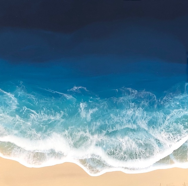 """Anna Sweet, '""""Liquid 3"""" mixed media painting of blue ocean waves from aerial view', 2019, Eisenhauer Gallery"""