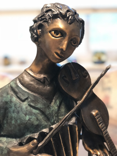 ", '""The Violinist"" Sculpture,' 2002, Leviton Fine Art"