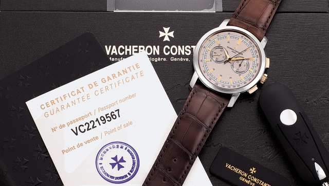 Vacheron & Constantin, 'A fine, large and attractive pink and white gold chronograph wristwatch with three-tone dial, guarantee and box', Circa 2018, Phillips