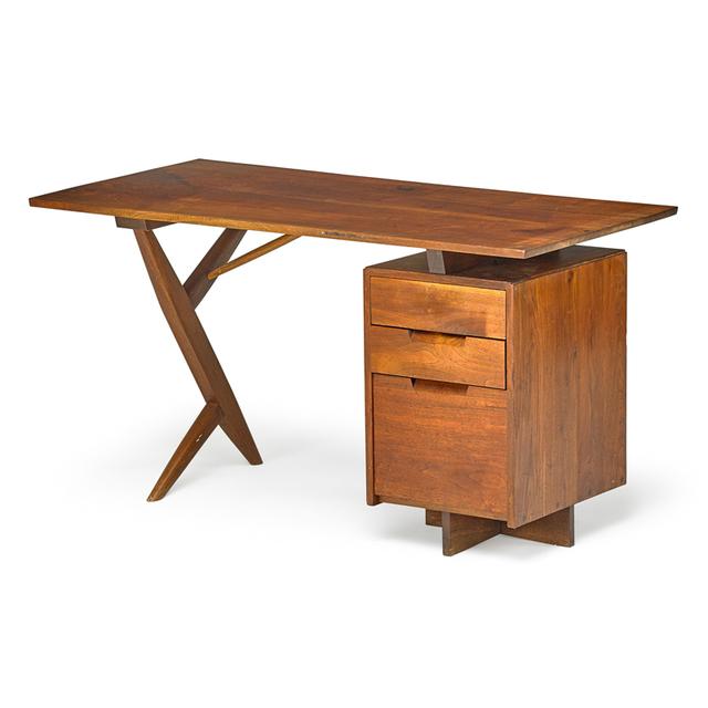 George Nakashima, 'Cross-Legged Single Pedestal Desk, New Hope, PA', 1970, Rago/Wright