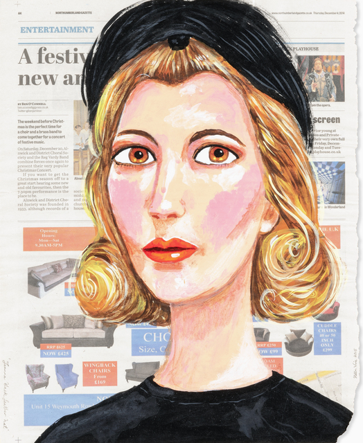 Stella Vine, 'Jeanne Black Feather Hat', 2015, Drawing, Collage or other Work on Paper, Unique, acrylic on reclaimed Northumberland Gazzette news paper, Tate Ward Auctions