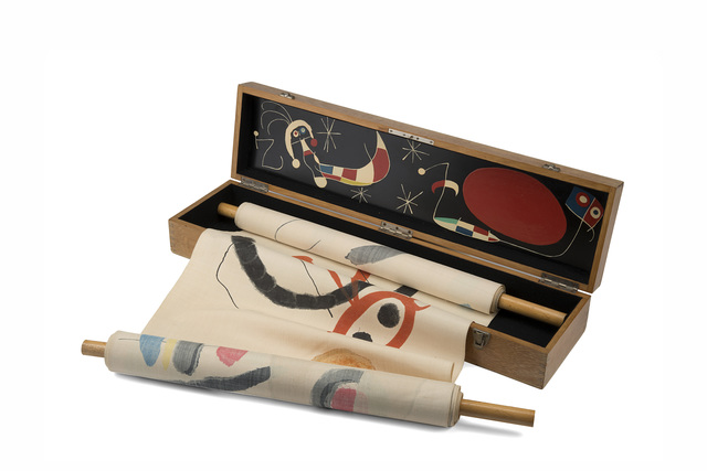 "Joan Miró, '""Makemono""', ca. 1956, Mixed Media, Color lithograph on silk scroll, Il Ponte"