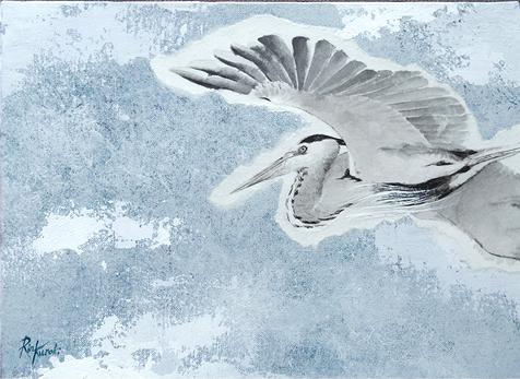 , 'Grey heron flying overhead,' 2017, Mottas