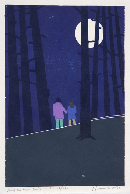 Tom Hammick, 'And the Moon Sails On', 2019, Print, Edition variable reduction woodcut printed in colours., Lyndsey Ingram