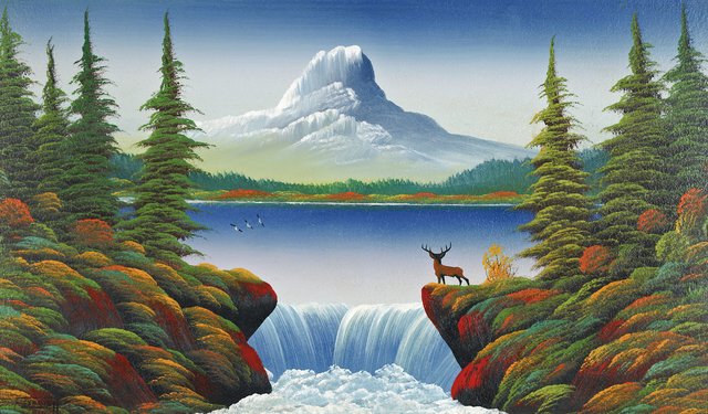 , 'Untitled (Mountain lake with deer, waterfall and three birds),' n.d., Contemporary Art Gallery