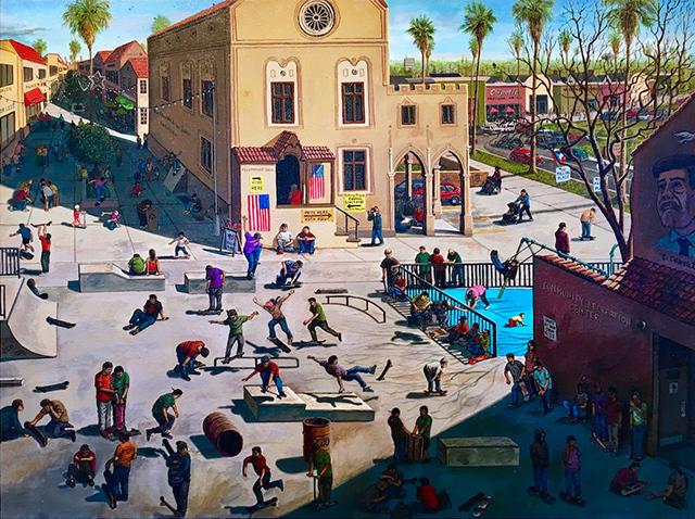 Sandow Birk, 'The Mid-Term Election (Skate Park)', 2018, Painting, Acrylic on canvas, Craig Krull Gallery
