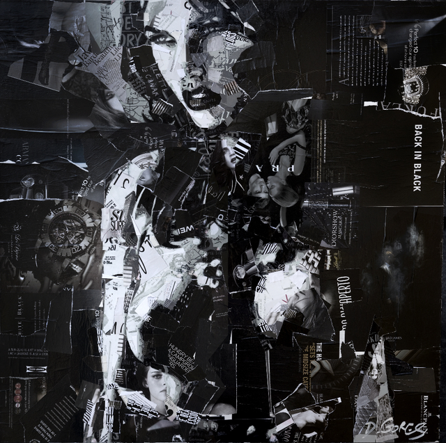 Derek Gores, 'Back In Black', ca. 2017, Painting, Collage and acrylic on canvas, Parlor Gallery
