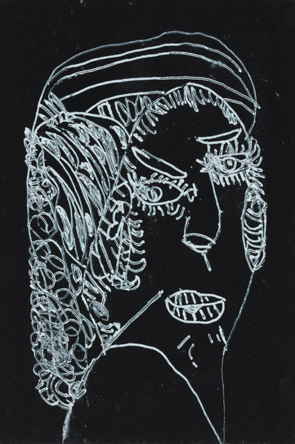 Richard Wright (b. 1955), 'a bad Lady Creature', 2017, Drawing, Collage or other Work on Paper, Paint pen on black matte board, Creativity Explored