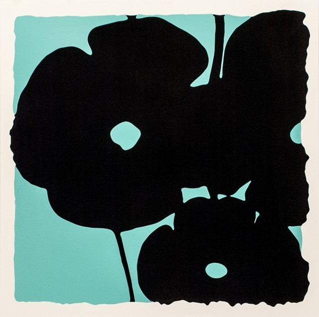 Donald Sultan, 'Reversal Poppies - Aqua and Black', 2015, Haw Contemporary