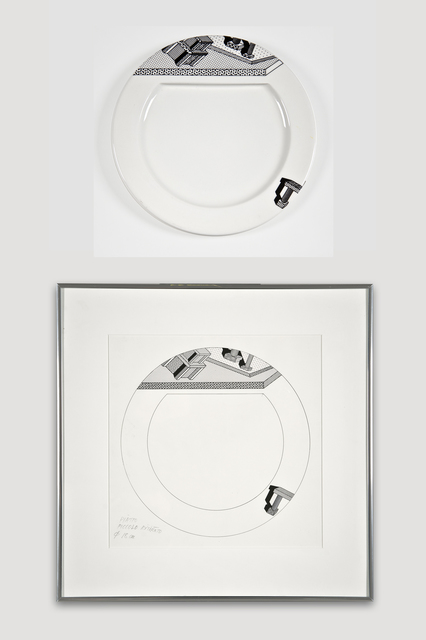 Ettore Sottsass, 'Collectors Set: Indivia Plate and Drawing for Bloomingdale's', 1985, The Modern Archive