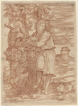 Domenico Campagnola, 'The Shepherd and the Old Warrior', 1517, Print, Engraving in red-brown ink, National Gallery of Art, Washington, D.C.