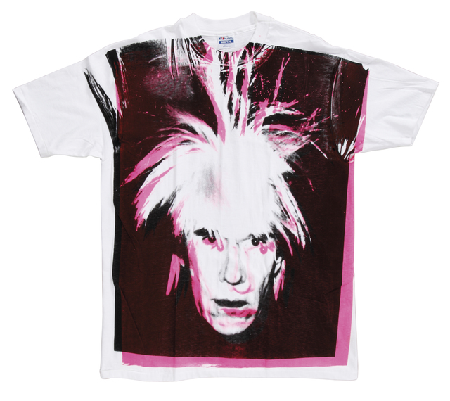Andy Warhol, 'Self-Portrait with Fright Wig', 1986, Mixed Media, Screenprint on a t-shirt, Christie's Warhol Sale
