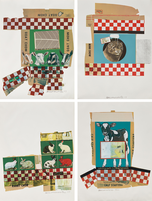 Robert Rauschenberg, 'Goat Chow; Mink Chow; Rabbit Chow; and Calf Sartena, from Chow Bag series', 1977, Print, Four screenprints in colors with applied string and fabric, on smooth wove paper, the full sheets, Phillips