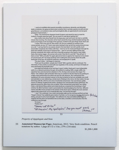 , 'Auction Page (Manuscript),' 2013, Rosamund Felsen Gallery
