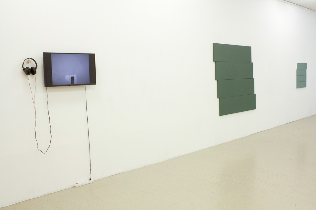 "Fragment of exhibition ""Counter-argument II"" with works by Banginis Justas (on the left) and Rūta Valdugaitė (on the right). Photography by Airida Rekštytė."