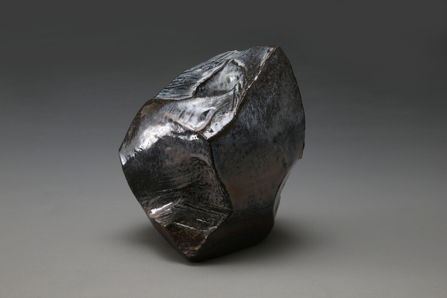 , 'Angled, scooped-out, rock-like vessel with Hagi and ash glazed with deep pink and dark brown colorations ,' 2014, Joan B. Mirviss Ltd.