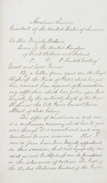 , 'Letter from President Lincoln to Queen Victoria sending condolences on the death of Prince Albert,' dated 1 February 1862, Royal Collection Trust