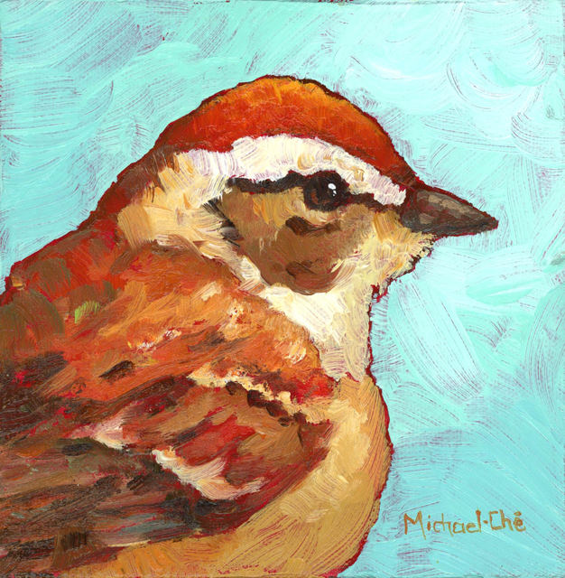 """Michael-Che Swisher, '""""The Golds Will Get It"""" Oil portrait of a brown and white bird with turquoise background', 2019, Eisenhauer Gallery"""