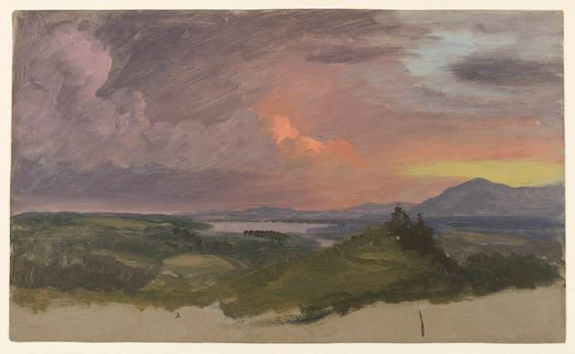 Frederic Edwin Church, 'Sunset in the Hudson Valley,' 1870-1875, Cooper Hewitt, Smithsonian Design Museum