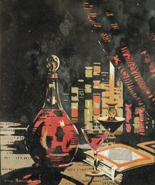 Still Life of Claret, glass and books