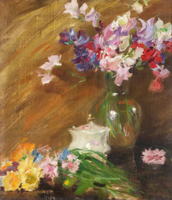 Irving Ramsey Wiles, 'Still Life with Bouquet and Sugar Bowl', Early 20th century, Painting, Oil on canvas, Questroyal Fine Art