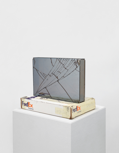 Walead Beshty, 'FedEx@Large Box, International Priority Los Angeles - New York TRK-799801787482, New York - London TRK-863164717027', 2008, Sculpture, Double laminated two-way mirror safety glass, accrued fedex tracking labels and cardboard, Phillips