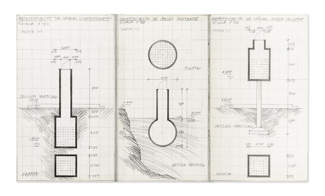 , 'Anteproyectos de cárceles subterránea, flotante y sobre columna,' 1973, Henrique Faria Fine Art