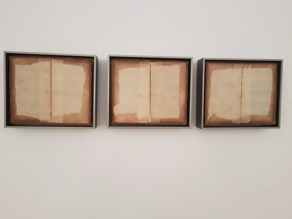 Pedro Zamora, 'Tríptico', Drawing, Collage or other Work on Paper, Book covers, Galería Marita Segovia