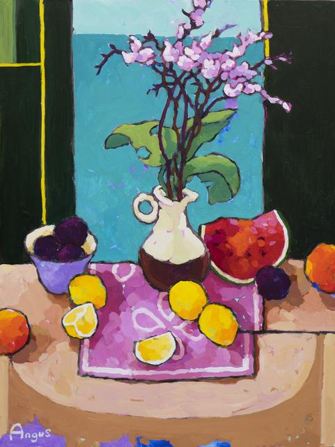 , 'Lemons, Plums and Watermelon on Pink,' 2018, Ventana Fine Art