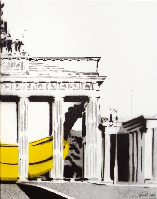 Bananensprayer Thomas Baumgärtel, 'Banane im Brandenburger Tor (right)', 2004, Galerie Kronsbein