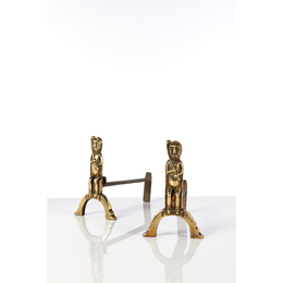 Chamanes assis; Pair of andirons