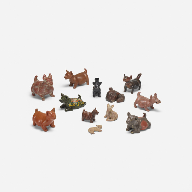 'Collection of twelve Colima dogs', Wright