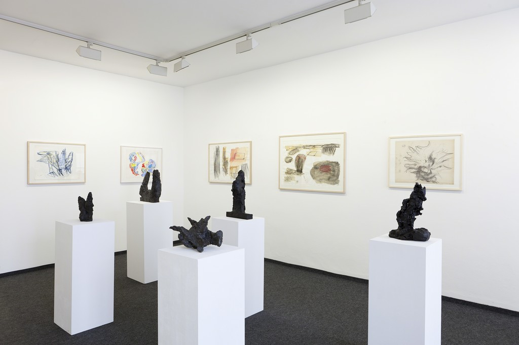 Installation view, Interim 2016 / 2017, drawings by Karel Appel and Per Kirkeby, sculptures by Michael Croissant and Per Kirkeby
